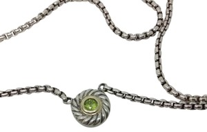 David Yurman sterling silver, 18k, green peridot, cookie pendant 16