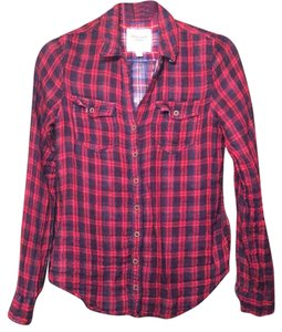 Abercrombie & Fitch Button Down Shirt Red and navy