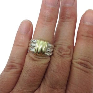 David Yurman size 6.75, sterling silver, 14k yellow gold, unisex, band, ring