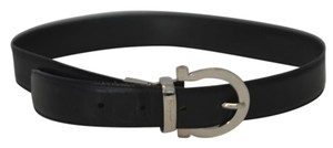 Salvatore Ferragamo Black Leather Silver Buckle Belt