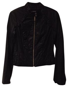 bebe Ruffles Faux Leather Motorcycle Jacket
