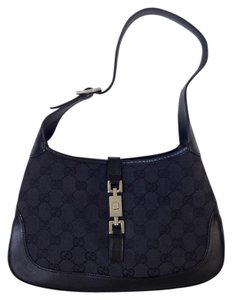 75cce024fab Gucci Leather Monogram Canvas Gg Small Silver-tone Hardware Hobo Bag. Gucci  Jackie O Black ...