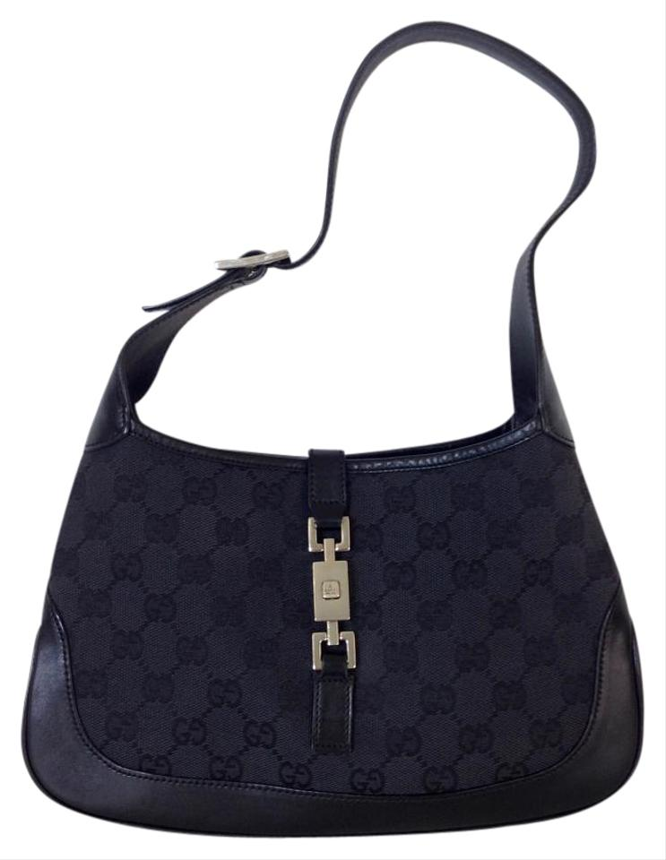 83b67ba750e Gucci Jackie O Black Gg Monogram Canvas   Leather Hobo Bag - Tradesy