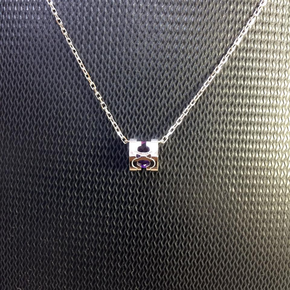 Cartier silvery de 18k white gold purple diamond necklace tradesy 123456789101112 aloadofball Images