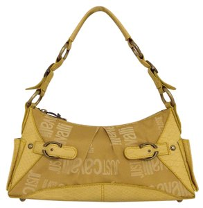 Just Cavalli Monogram Logo C-studs & Buckles Embossed Snake-skin Cobra Zipper Accent Shoulder Bag