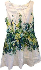 Studio One short dress White with green, yellow and blue floral print in middle Cotton Fit To Flare on Tradesy