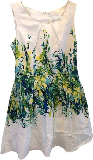 Studio One short dress White with green, yellow and blue floral print in middle Cotton Fit To Flare Lined on Tradesy
