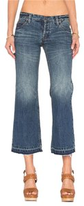 Free People Cropped Frated Flare Trouser/Wide Leg Jeans-Medium Wash