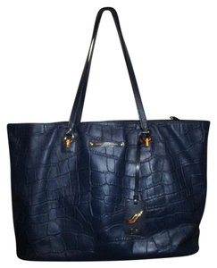 Diane von Furstenberg Croc Leather Tote in navy