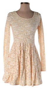 Free People short dress Beige Lace A-line on Tradesy