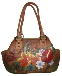 Anuschka Leather Hand Painted Satchel in tan multi color