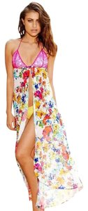 Beach Bunny Floral Lace Bikini Open Cover Up Maxi Dress S
