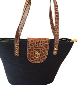 Eric Javits Satchel in Black with Brown Straps