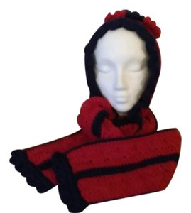 Crocheted by me One of a kind, new, never used, hood with attached scarf