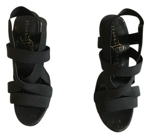 Ivanka Trump Gold Strappy Stretchy Black Sandals