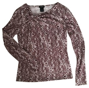 Ann Taylor Top Burgundy and White
