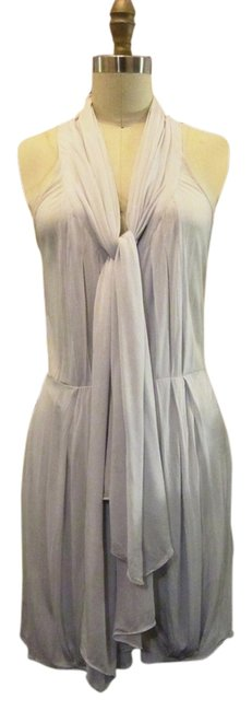 Item - Silver Blue Grey Jersey Paris Runway Collection Silk Above Knee Short Casual Dress Size 2 (XS)