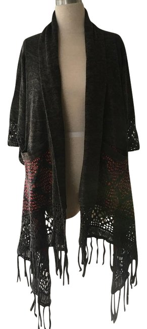Item - Grey Black Green Red Poncho/Cape Size OS (one size)