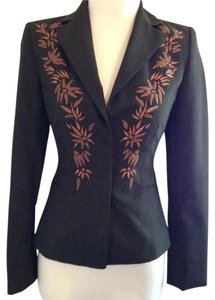 Laundry by Shelli Segal Embroidered Fitted Brown with Copper accents Blazer
