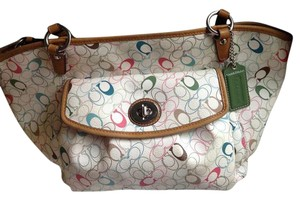 Coach Ex-large Pretty Colors Hang Tag Leather Trim Tote in Multi
