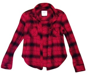Abercrombie & Fitch Flannel Holiday Button Down Shirt Red Black Plaid