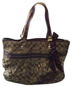 Coach Tote in Tan And Purple