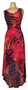 Red muticolor abstract pattern Maxi Dress by Snap