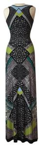 Green multicolor abstract print Maxi Dress by Snap