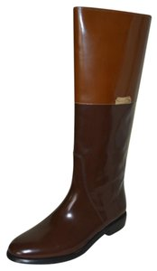 Burberry Leather Riding Patent Leather Brown Boots
