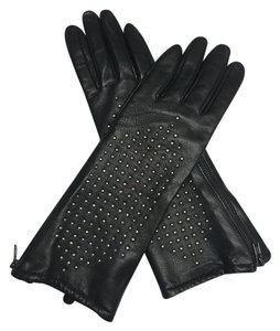 Juicy Couture Juicy Couture Leather Studded Long Black Gloves