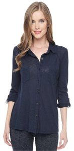 Splendid Simple Basic Slub Button Down Shirt Navy Blue