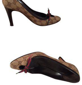 Gucci Red and green canavas tan Platforms