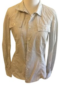 Michael Kors Cotton Dry Clean Made In Italy Button Down Shirt Navy blue white stripe
