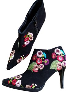 Beverly Feldman Embroidered Black Suede/Multi Colored Embroidery Boots
