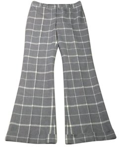 Club Monaco Wool Plaid Designer Wide Leg Pants Gray