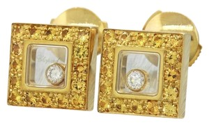 Chopard Chopard 18k Gold Yellow Sapphire Happy Diamond Square Earrings Stud