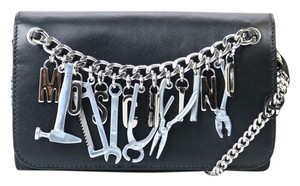 Moschino Chain Tools Leather Black Clutch