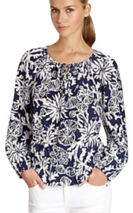 Lilly Pulitzer Silk Long Sleeve Top Navy & White