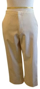 TSE 80% 13% Nylon 7% Elastic Made In Italy Dry Clean Capri/Cropped Pants Khaki
