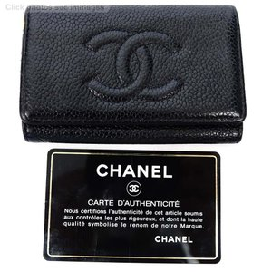 Chanel Auth Chanel Black Caviar Leather CC Logo Keychain Holder Wallet Pouch