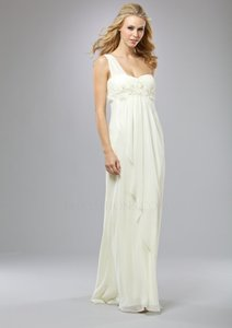 Ivory Polyester Blend Lm Collection Hk305 One Shoulder Grecian Draped Feminine Wedding Dress Size 16 (XL, Plus 0x)