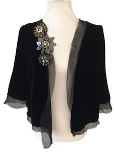 Plenty by Tracy Reese Sequins Date Night Cocktail Party Shrug Velvet Top Black