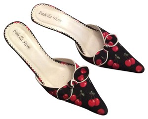 Isabella Fiore Bows Cherries Cute Leather Trim Pointed Toe Black and red Mules