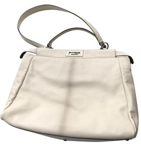 Fendi Peekaboo Snakeskin Leather Tote in beige