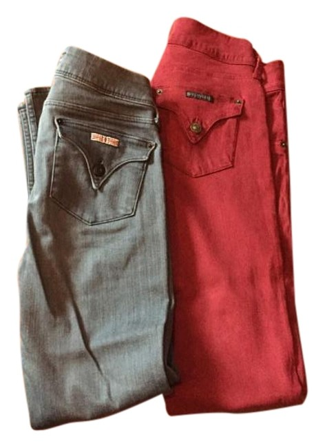 Item - Grey and Red Medium Wash Skinny Jeans Size 27 (4, S)