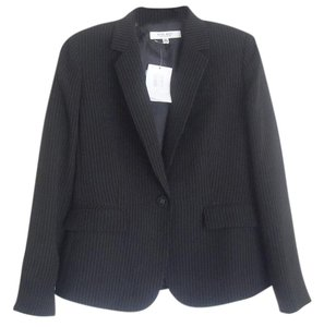Nine West Nine West New Black Pinstripe Long Sleeves One-Button Blazer Jacket 10