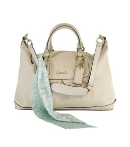 Coach Cream Leather Convertible Hobo Bag