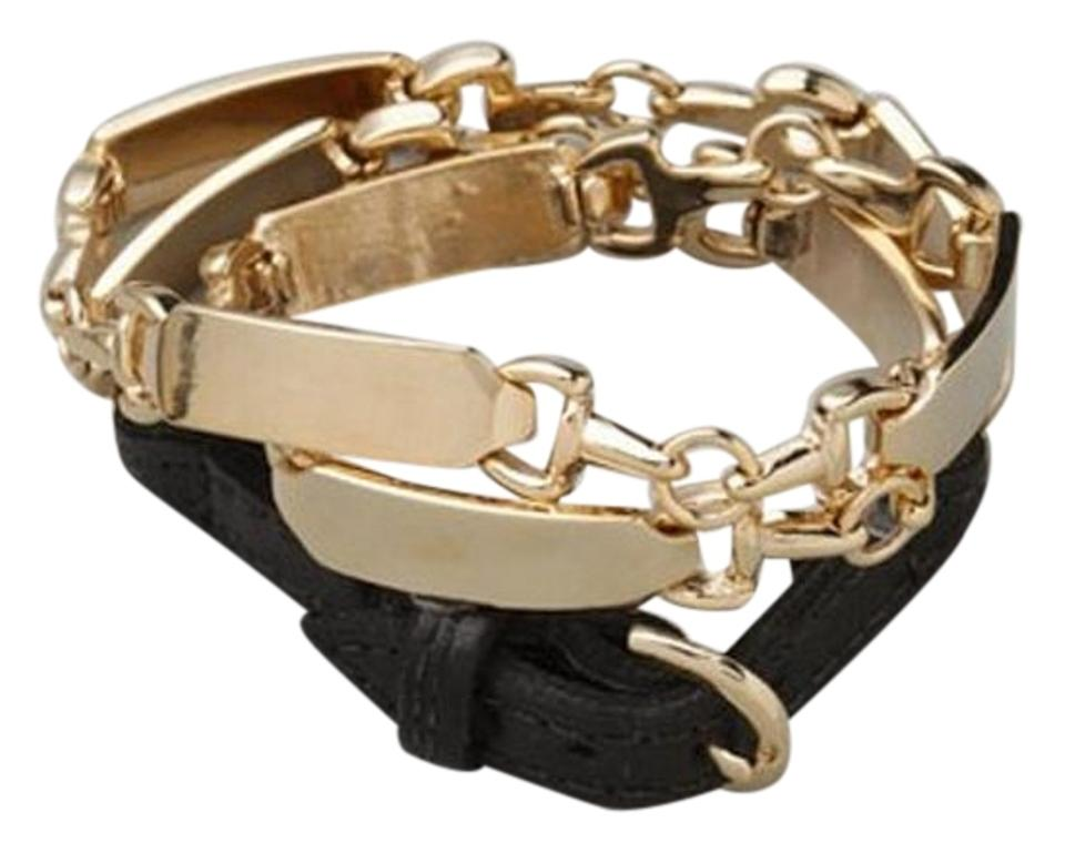 House Of Harlow 1960 Black Gold Metal Leather Wrap Bracelet 62 Off Retail