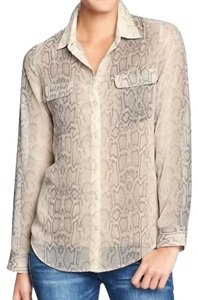 Old Navy Snake Print Longsleeve Semitransparent Top Grey