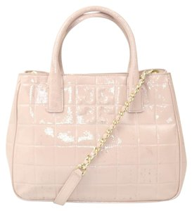 Tory Burch Pink Patent Leather Satchel in Pale Pink